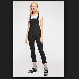 Free People Washed Out Slim Black Overalls
